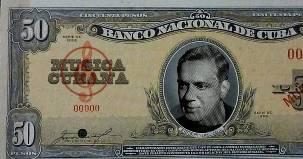 Montaje en billete cubano de 50 pesos de 1958 con la imagen de Lecuona