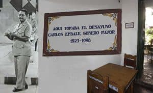 photographic collage of Carlos Embale television performance and plaque at Valencia Hostal in Old Havana