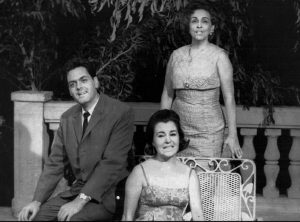 Ramón Calzadilla, Esther Borja and María Remolá at a Cuban television set