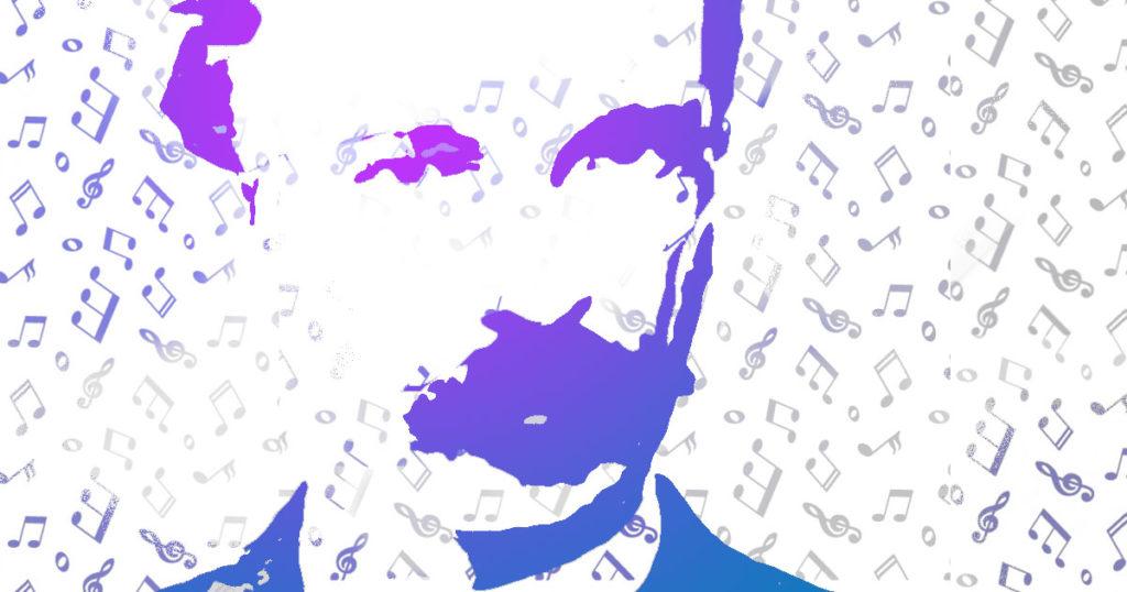 Dibujo de José Martí rodeado de notas musicales