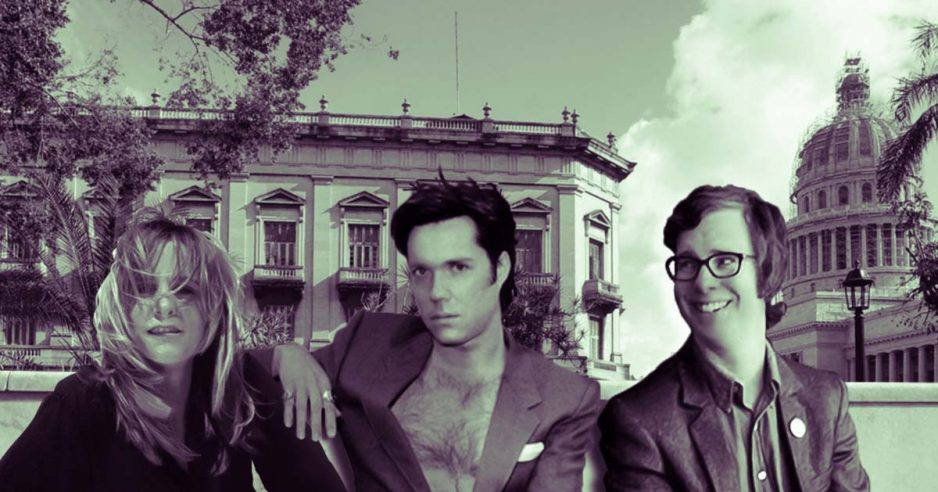 Collage de Melissa Etheridge, Ben Folds y Rufus Wainwright sentados en el parque central de La Habana