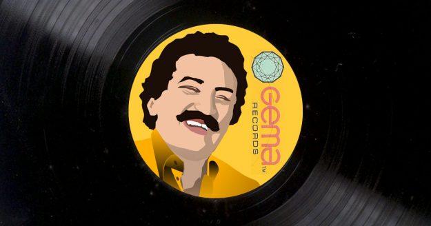 Dibujo de Álvarez Guedes sobre un disco de vinilo