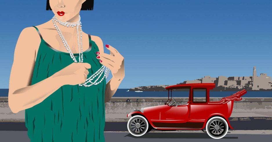 Dibujo de una chica años 20 con coche rojo parqueado en el Malecón