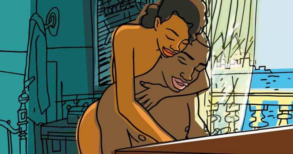 fotograma de Chico y Rita desnudos y Chico sentado al piano con Rita detrás