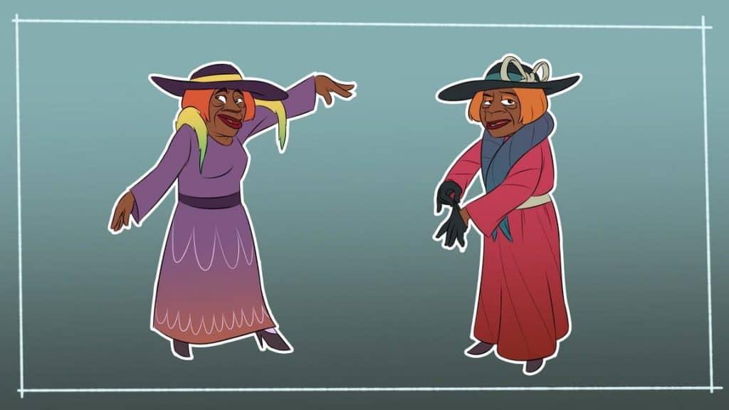 Juana Bacallao caricaturizada con vestuario y poses características