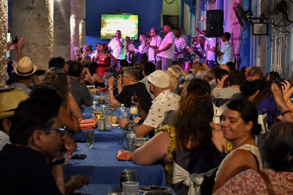 enjoying cuban food and music